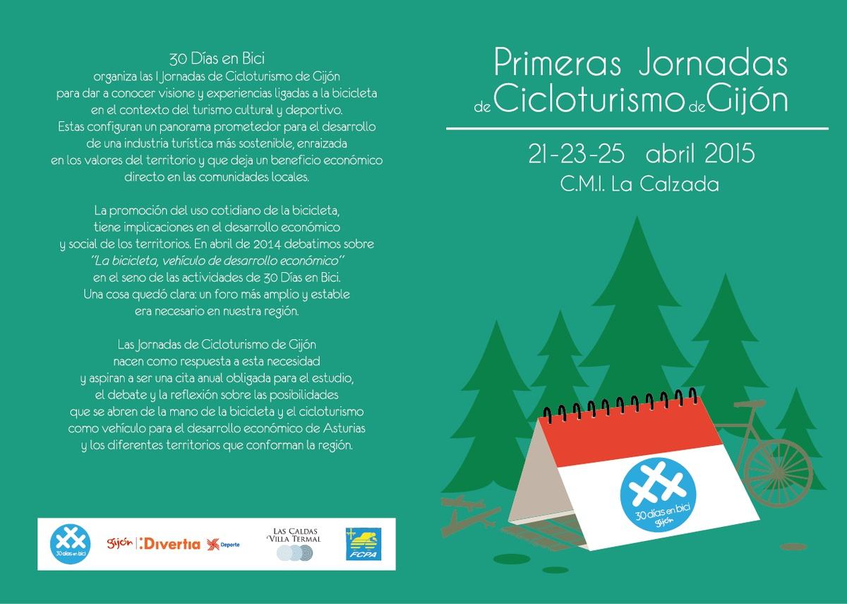 Primeras Jornadas de Cicloturismo de Gijón. 21-23-25 Abril 2015. Folleto