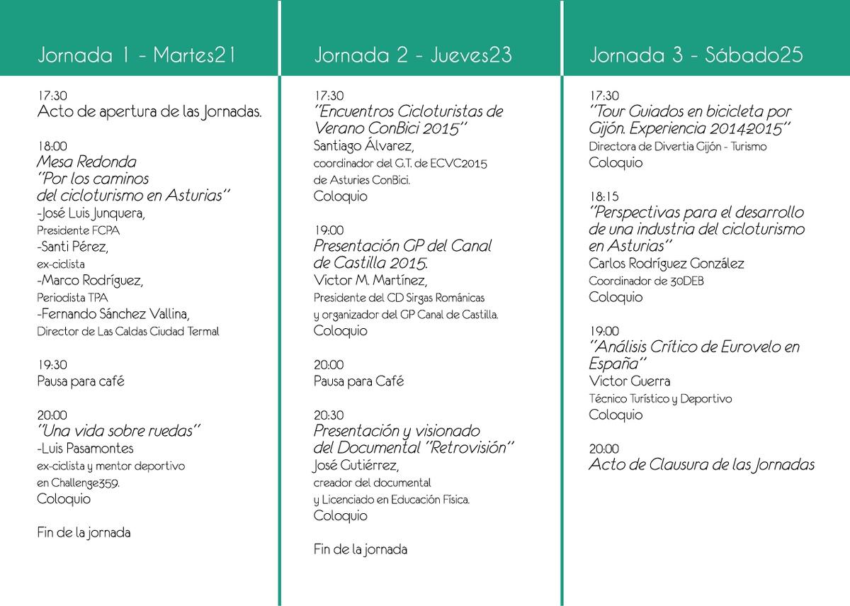 Primeras Jornadas de Cicloturismo de Gijón. 21-23-25 Abril 2015. Eventos
